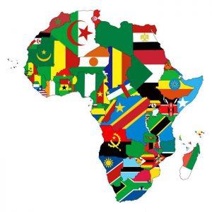 banderas en el mapa de africa político