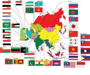 mapa banderas de paises de asia