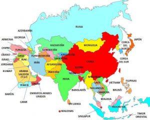 mapa político de asia con sus capitales