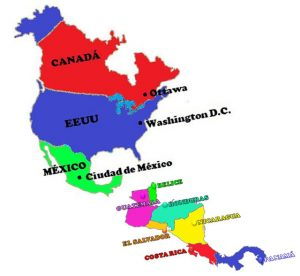 mapa político de america del norte con capitales