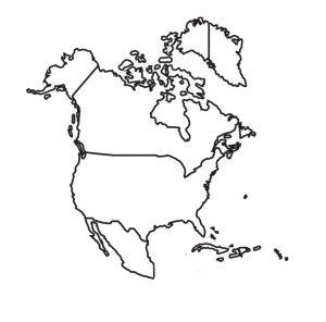 mapa en blanco de america del norte para colorear