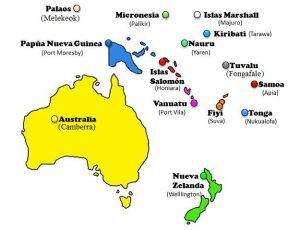 mapa oceania y sus capitales