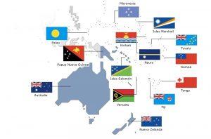 mapa bandera de paises en oceania