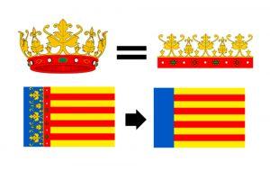bandera de valencia con corona