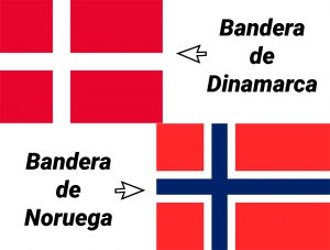 bandera de dinamarca vs noruega