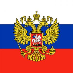 bandera de rusia con escudo